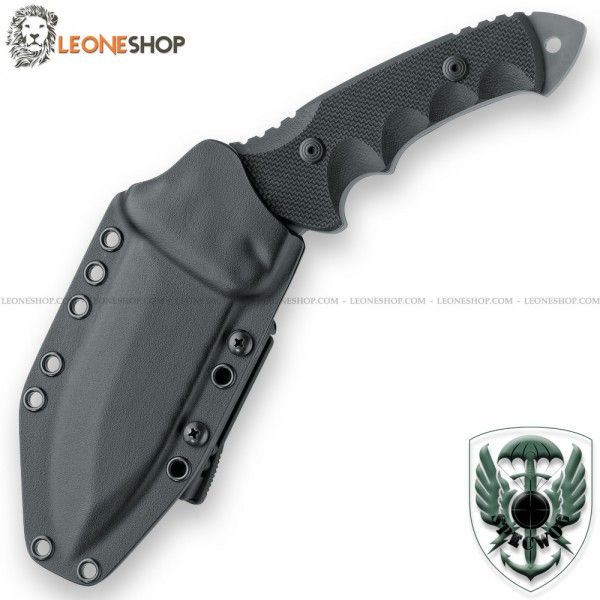 """FOX FKMD SPECWOG WARRIOR Combat Knife FX-0171113, military tactical knives with fixed blade of N690Co Cobalt Vanadium stainless steel of high quality with surface treatment in PVD Black® a coating of thin films under vacuum through the physical vapor deposition (Physical Vapor Deposition) very resistant to abrasion and waterproof - HRC 58/60 - Blade lenght 4.5"""" - Thickness 0.24"""" - Handle made with Black 3D G10 inserts cnc machined with rouge texture for a better grip - Overall lenght 10"""" …"""