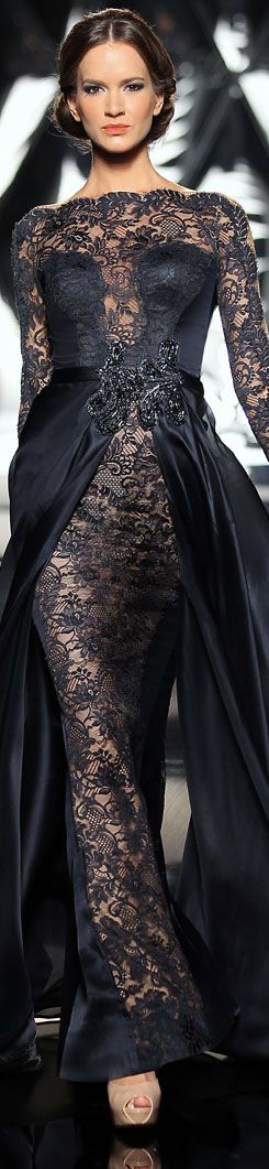 The Mireille Dagher Fall-Winter 2013-14 Haute Couture Collection #black #lace #dress ♥