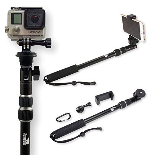 Selfie Stick   Use as GoPro Pole and Monopod   Camera Mount   Go Pro Accessories Kit   Use with iPhone 6 and 7 and Hero 3 4 5 Black Silver   New Grip Handle (No Bluetooth)