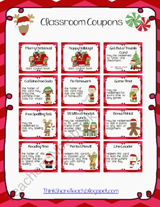 Christmas Coupons for classroom gifts $
