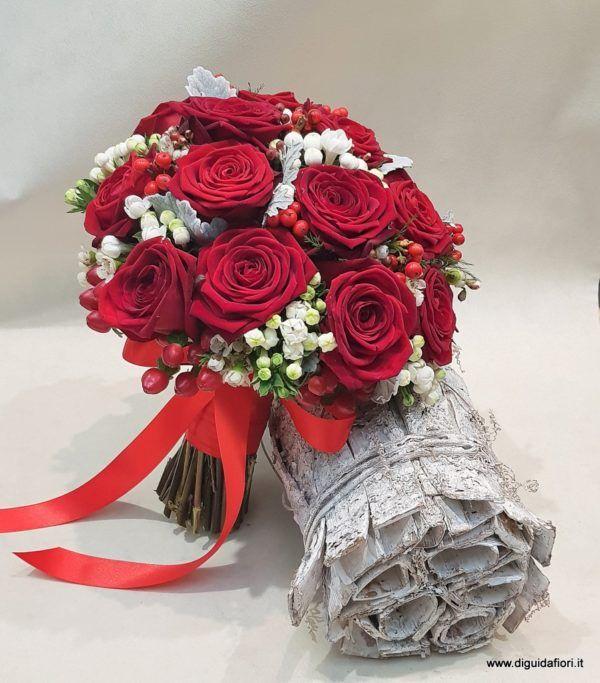 Bouquet Sposa Con Rose Rosse.Bouquet Da Sposa Con Rose Rosse Fiorista Roberto Di Guida