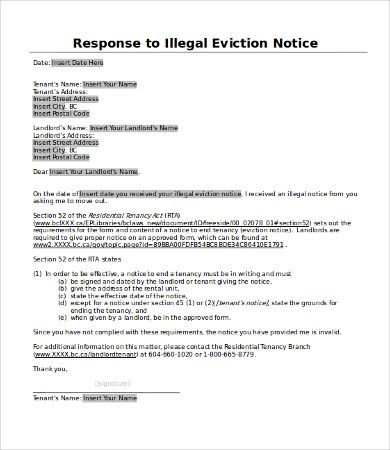 Image result for proforma of reply to notice of eviction to the landlord