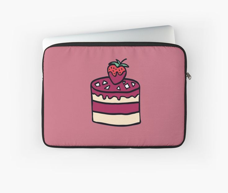 Cake with strawberry. Cartoon illustration. by kakapostudio