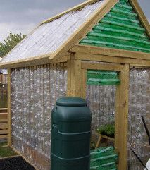 how about this self-built greenhouse from hundreds of recycled plastic bottles?