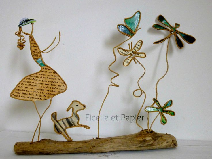 La chasse aux papillons - figurines en ficelle de kraft armé et papiers originaux