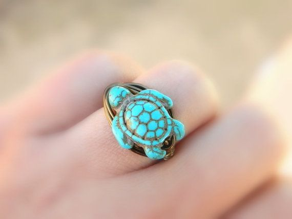 Turtle Turquoise Ring. Turquoise Ring. Bohemian Jewelry by gabeadz