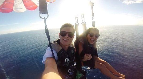 Kian Lawley and Andrea Russett parasailing in Hawaii today!! #kiandrea