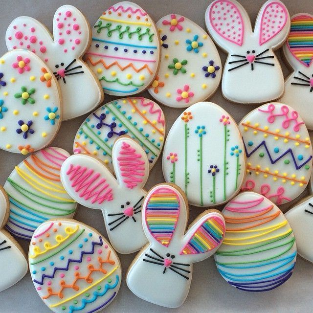 Happy Easter! #sugarpixiesweets #sugarpixie #decoratedcookies #customcookies #sugarcookies #eastereggcookies #rainbowcookies #bunbun #dccookies #arlingtonva (royal icing cookies easter)
