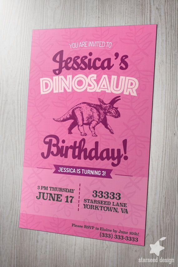 indianjones birthday party invitations printable%0A Girl Dinosaur Birthday Party Invitation Invite by StarseedDesignCo