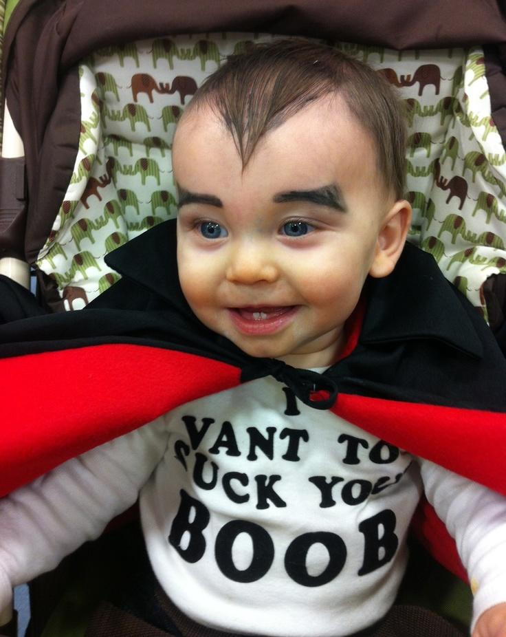 Best costume!!! 'I Vant to Suck Your BOOB'      #breastfedbaby #vampirebaby