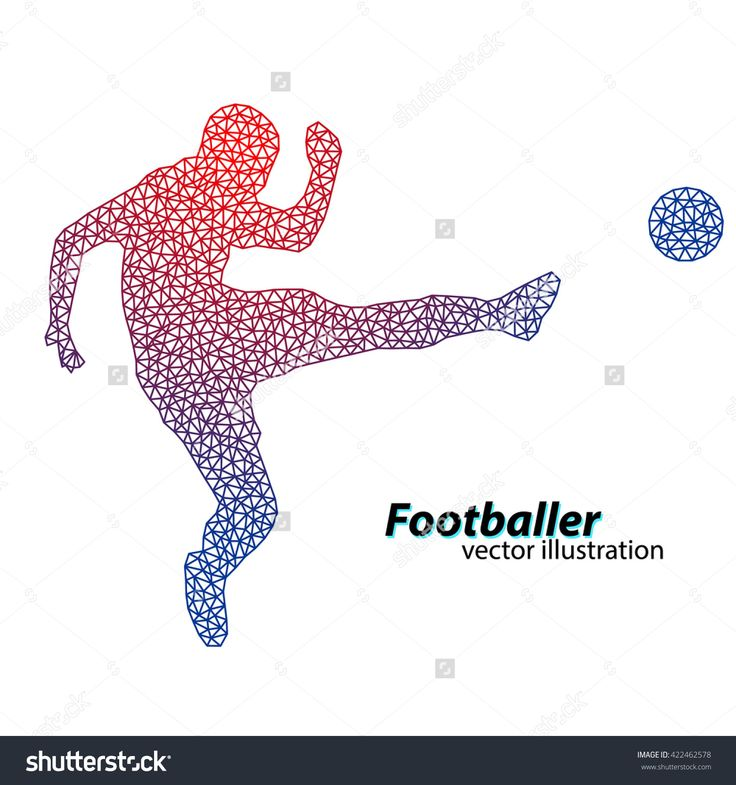 Silhouette Of A Football Player From Triangles. Text On A Separate Layer, Color Can Be Changed In One Click Banco de ilustração vetorial 422462578 : Shutterstock