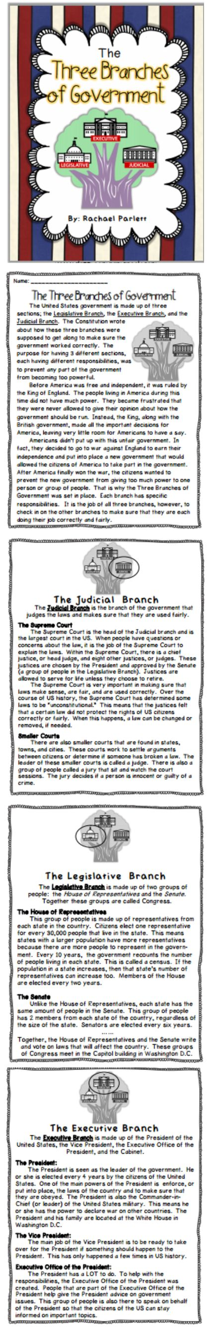 Teach the 3 branches of government with this low-prep introductory activity.  Can be used in individual, small group, or whole class setting.  Includes an introduction to the format of the government and then teaches each branch specifically.