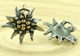 1pc Large Flower Czech Findings Matte Aged Antique Silver Gold Bohemian Pendant Focal Rustic Handmade 35mm