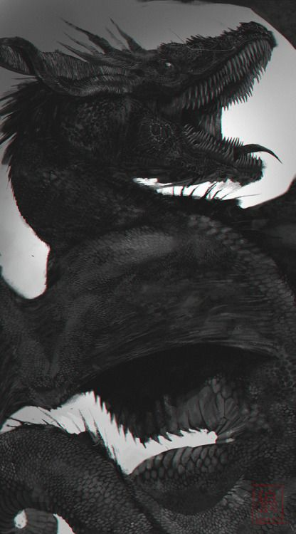"""jiangxhi: """" """"The Black Dread"""" My version of Balerion from the ASOIAF/ Game of Thrones Universe. PS CS6 """""""