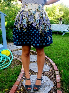 Skirt with flat front waist but elastic gathered waist at the back -- sewing tutorial