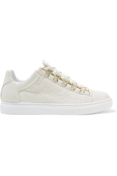 Sole measures approximately 20mm/ 1 inch White crinkled-leather Lace-up front Made in Spain