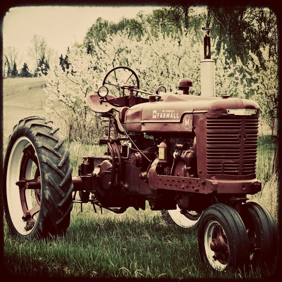 Vintage Tractor Photography Farm  5x5  Original by GardenBlues, $12.50