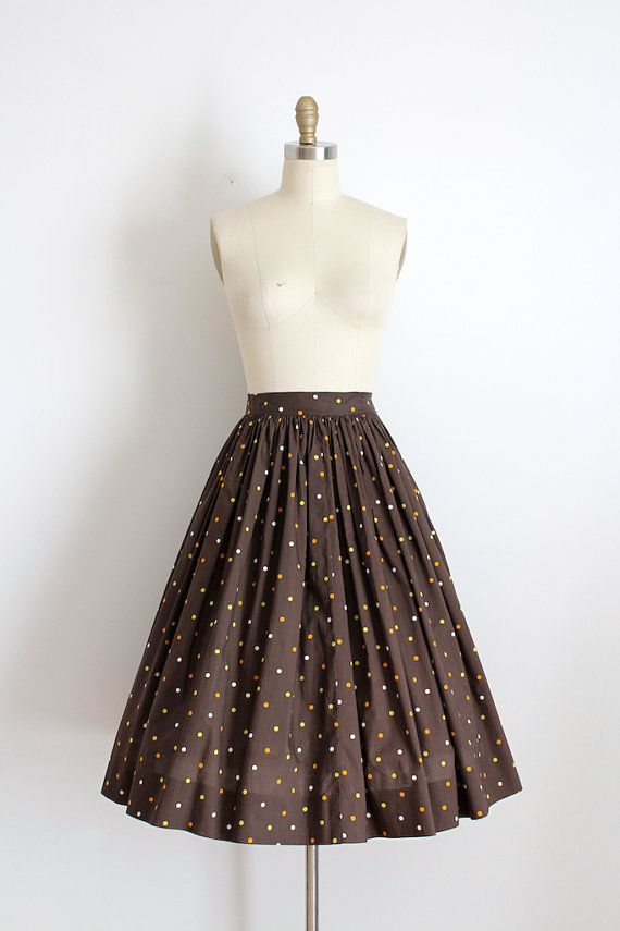vintage 1950s skirt // 50s brown polka dot full skirt