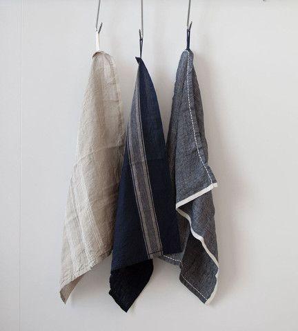 Bianca Lorenne Indigo & Natural Tea Towel Set http://fatherrabbit.com/collections/the-entertainer