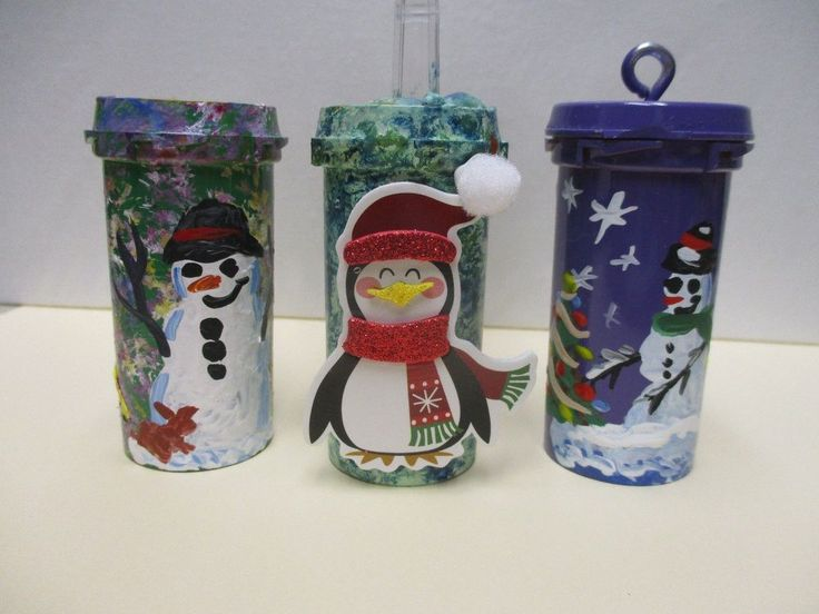Re-Purposed Pill Bottle Christmas Tree Ornaments