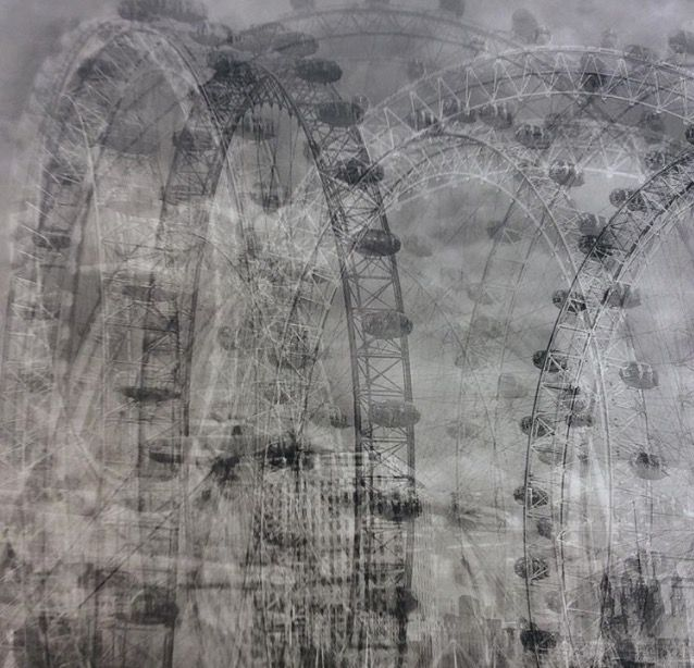 Idris Khan, The London Eye-layered imagery that is both abstract and figurative and addresses narratives of history, cumulative experience and the metaphysical collapse of time into single moments.