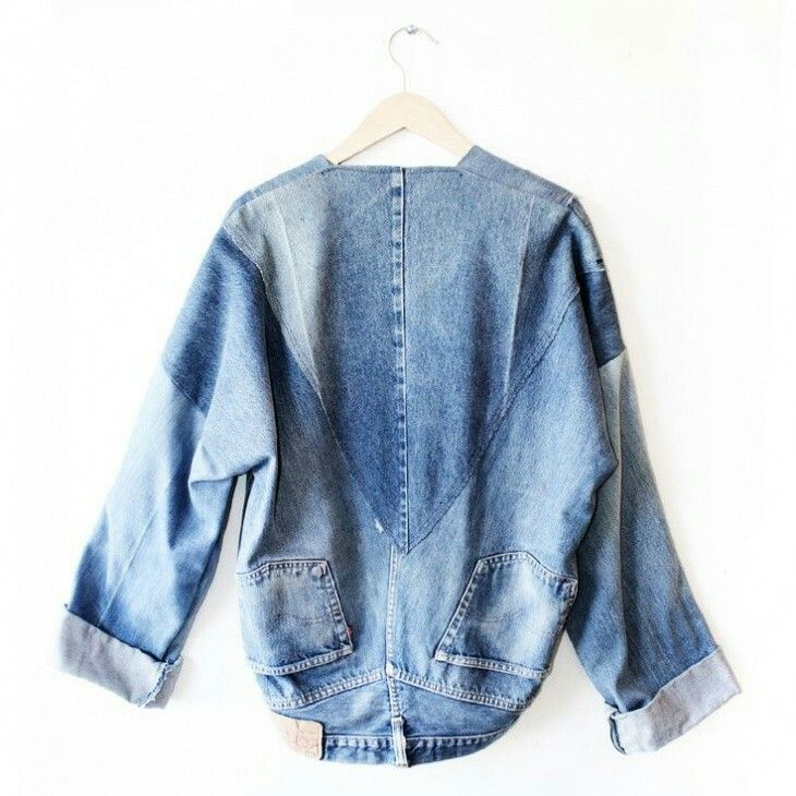 #upcycled denim jacket made from jeans. Interesting. #denim #fashion #style