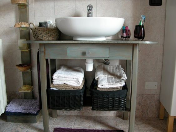Da vecchio tavolo a piano lavandino idee per la casa pinterest bathrooms reduce reuse - Materiali per mobili ...