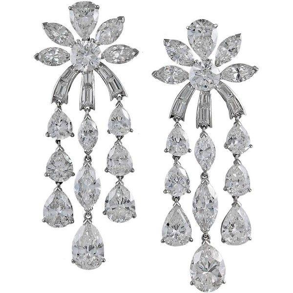 Diamond Platinum Chandelier Earrings ❤ liked on Polyvore featuring jewelry, earrings, baguette diamond earrings, platinum earrings, platinum diamond earrings, fringe earrings and pear earrings