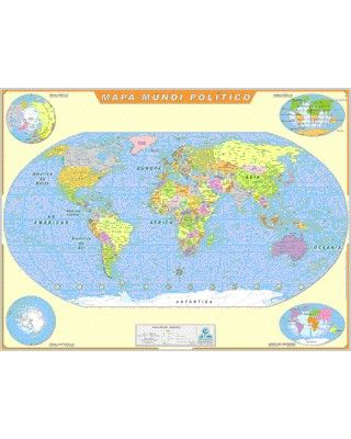 Mapa Mundi Político Laminado com moldura de madeira em cima e em baixo, ótimo para apresentação em sala de aula, com nome de paises, e angulos diferentes.