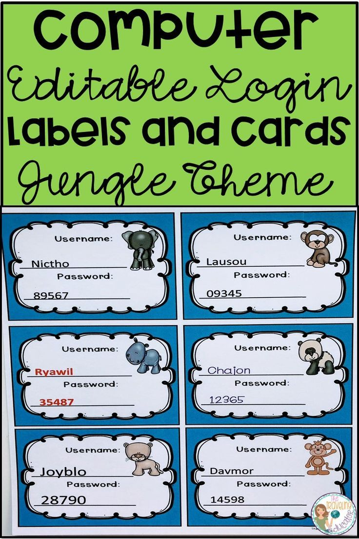 Computer Login Labels And Cards Jungle Theme Elementary