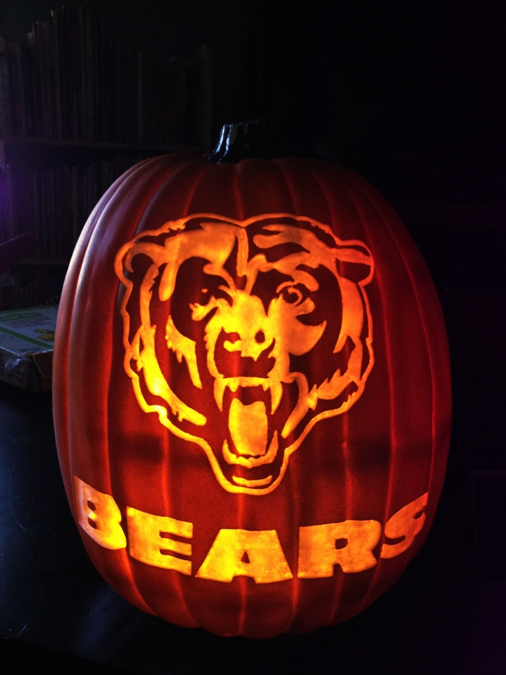 Chicago bears on a foam pumpkin stoneykins pattern