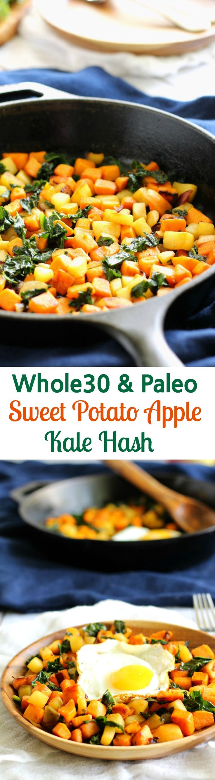Whole30 and Paleo Sweet Potato Apple and Kale hash with caramelized onions - serve with or without fried eggs - vegan if you leave out the eggs! Perfect for a healthy meal or side dish