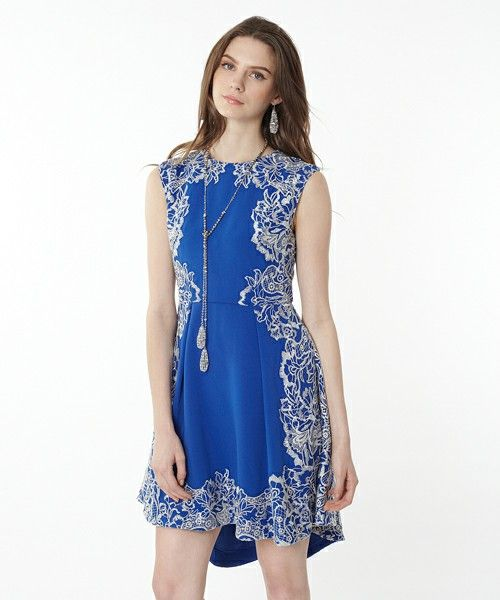 GRACE CONTINENTAL(グレースコンチネンタル)のトリアセトリミングワンピース(ドレス)|ブルー