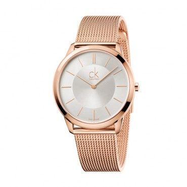 K3M221C6 Ανδρικό-γυναικείο ελβετικό ρολόι CALVIN KLEIN Minimal με ασημί καντράν και ροζ ατσάλινο μπρασελέ   Ρολόγια CK ΤΣΑΛΔΑΡΗΣ στο Χαλάνδρι #Calvin #Klein #minimal #μπρασελε #ρολοι