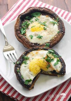 Eggs Baked in Portobello Mushrooms. A healthy vegetarian lunch or even starter! Ask me about the best nutrition for you at https://www.facebook.com/ChrisDietCoach. Herbalife Wellness Coach, Chris Hales.