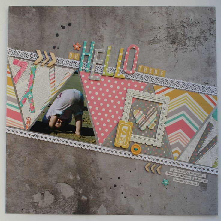 #papercraft #scrapbook #layout.  OH HELLO THERE - Scrapbook.com