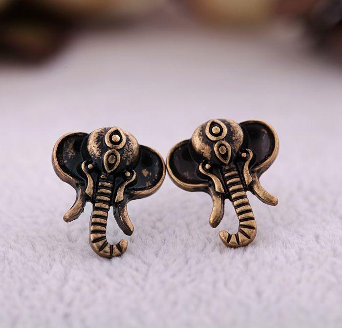Vintage Elephant Shape Alloy Stud Earrings