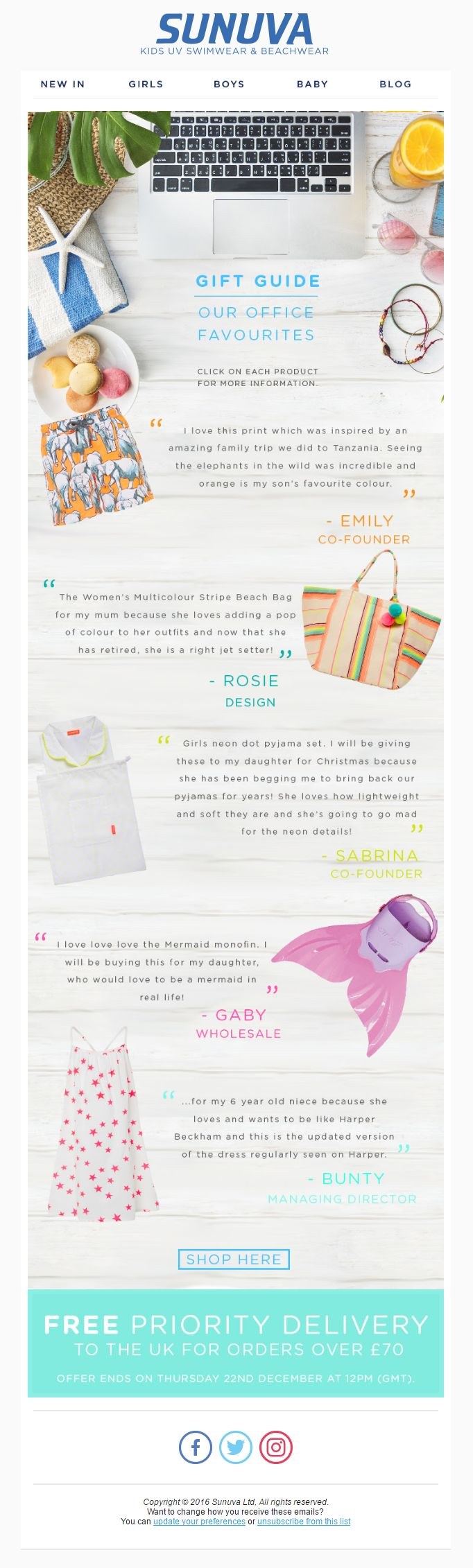 Sunuva Social Proof Email with Recommendations from Employees #EmailMarketing #Email #Marketing #SocialProof #Social #Proof #Fashion #Kids #Reviews