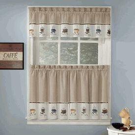 Nice Java Coffee Theme Embroidered Curtains   Coffee Print Kitchen Curtains