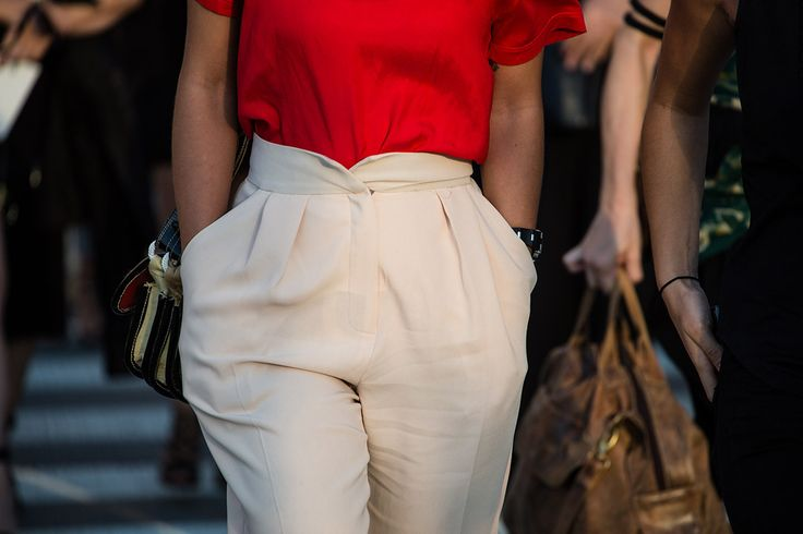 SS16 streetstyle detail  high-waist trouser  red shirt  sexy chic look