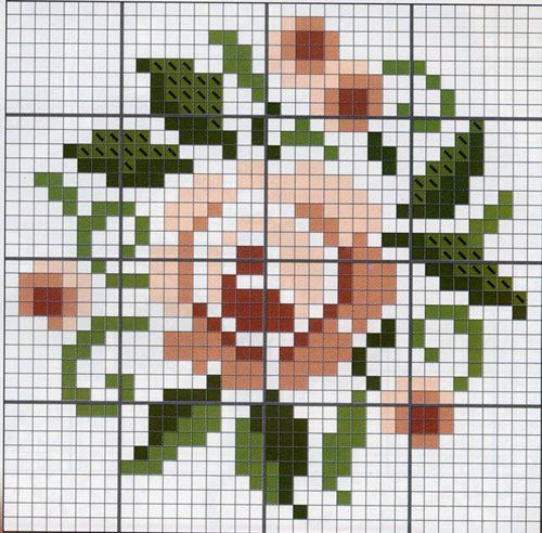 A Rose. Cross stitch chart. #cross_stitch