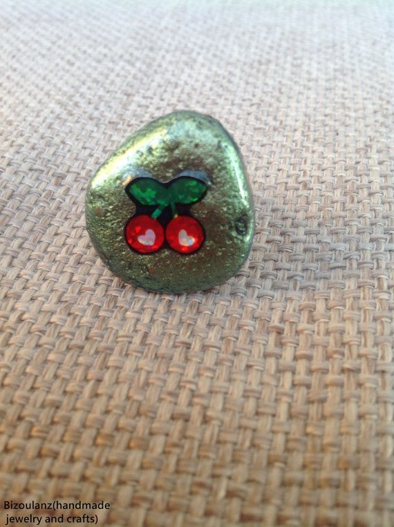 Metallic green cherry adjustable ring,sea pottery with resin,eco friendly,recycled/upcycled jewelry unique kawaii,cute,lolita spring/summer