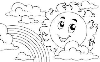 Gambar Mewarnai Gambar: Gambar mewarnai pemandangan pelangi untuk anak.