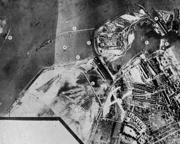 RAF reconnaissance photo of Wilhelmshaven German Naval Base, 1939-December 1939 saw three attacks on the important German naval base at Wilhelmshaven and the nearby anchorage in the Schillig Roads (The Heligoland bight is the area between the German coast and the then heavily fortified island of Heligoland in the north sea). On 3 December 24 Wellingtons sank one minelayer and shot down one German fighter for no lose.