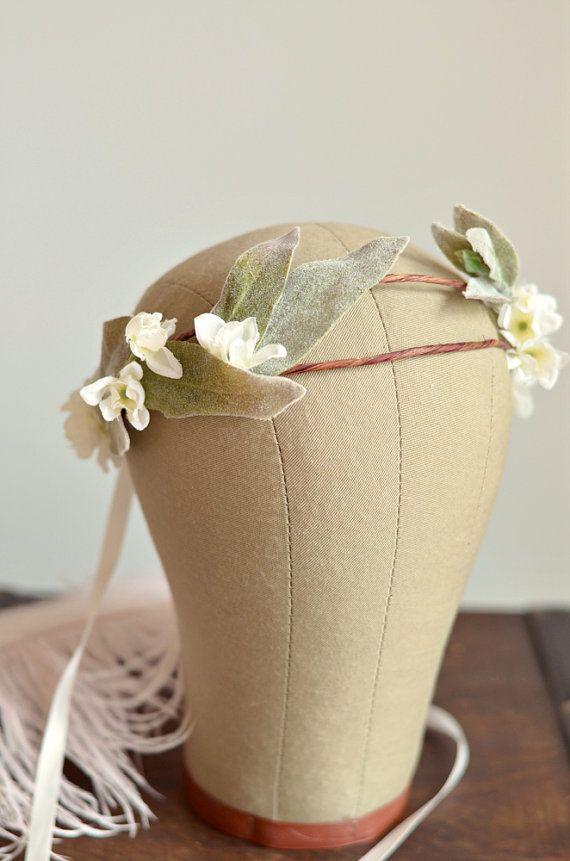 Bridal headpiece, boho flower crown, ivory floral crown, hair wreath, wedding accessories - Daphne