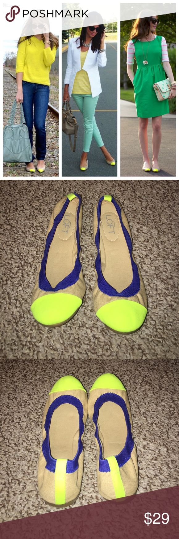 Ann Taylor Neon Flats Cute Ann Taylor Loft neon cap toe canvas ballet flats. Excellent condition. Worn only a couple of times. 🚨 The Cover Shot (main picture) is strictly for styling ideas and not an exact representation of the item for sale. 🚨 Ann Taylor Shoes Flats & Loafers