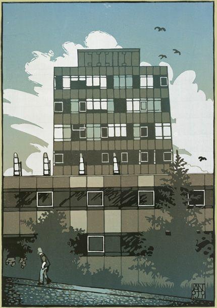 Ian Phillips ~ Landinum Tower ~ Linocut, size A2 (420 x 594 mm)