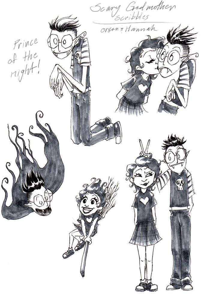 www.badhandillustrations.com Hannah and Orson from Scary ...   Scary Godmother Orson
