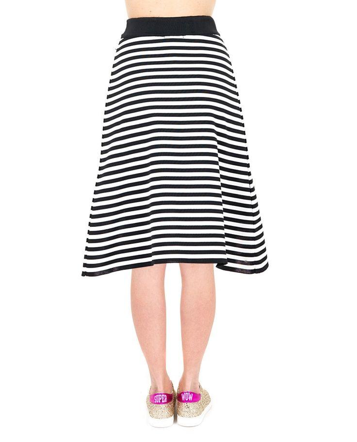 AKEP Nylon flared skirt high waist drawstring waist  white and black variant 100% NY
