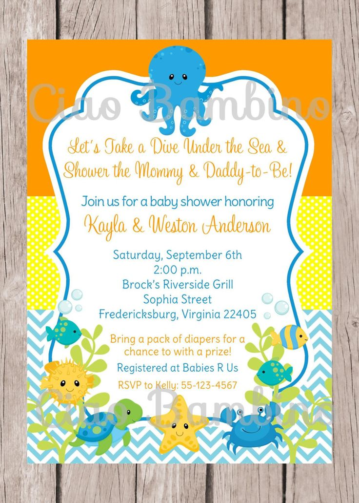 PRINTABLE Under the Sea Invitation for Baby Shower / Gender Neutral Under the Sea Invitation / Boy or Girl / You Print - 0023 by ciaobambino on Etsy